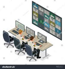 securityguard watching video monitoring surveillance security