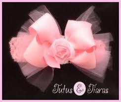 tulle hair bows shabby chic tutu rosette baby headband or hair bow tutu hair bows