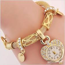 bracelet watches with charms images 2016 new ladies chain bracelet quartz watches gold silver heart jpg
