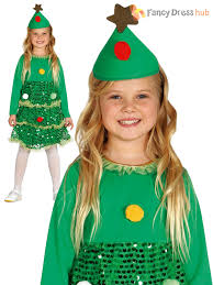 girls christmas tree costume childs toddler xmas fancy dress kids
