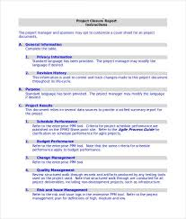 project closure report template project completion report format