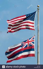 Hawaiian Flag American And Hawaiian State Flags Oahu Hawaii Stock Photo