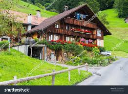 typical swiss wood house decorations flowers stock photo 221383834