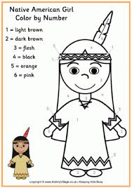 Thanksgiving Color By Number Native American Colour By Number Plus Several Other Color By
