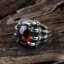skull finger rings images Stainless steel skull claw finger ring with red stone swag for jpg