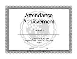 attendance award certificate templates teachers