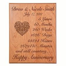 five year wedding anniversary gift personalized 5th wedding anniversary wall plaque gifts