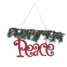vintage glitter peace sign rattan tree home door