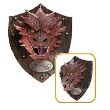 Lord Of The Rings Decor The Hobbit Smaug Head Resin Mounted Trophy Rubies Hobbit