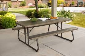 Lifetime Folding Picnic Table Furniture Fold Up Picnic Table Lifetime Brown Plastic