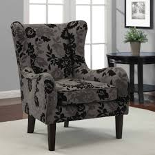 Wing Recliner Chair Zigzag Striped Wingback Chair Slipcover With Floral Pattern Square