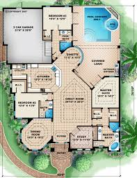 florida house plans with pool floor plan of florida mediterranean house plan 60512