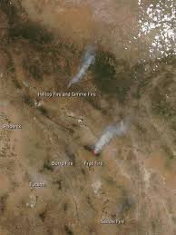 Wyoming Wildfires Map Fires Flare Around Arizona Nasa
