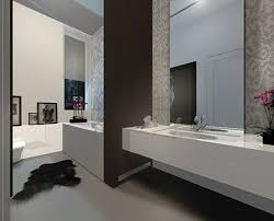 bathroom white waterfall shower dark brown vanity cabinets white