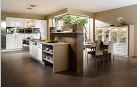 stunning modern kitchen ideas offer wooden cabinets and floor with