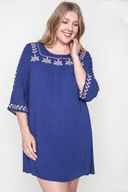 plus size embroidered mini bell blue tunic dress