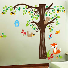 tree wall sticker for nursery squirrel fox mushroom wall decal