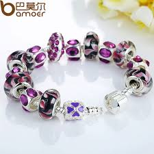 murano charm bracelet images European style silver charm bracelet purple murano glass beads jpg