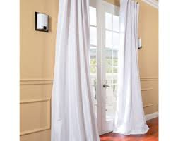 White Faux Silk Curtains Silk Curtain Panels Etsy