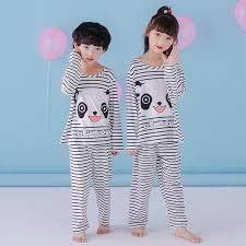 children s pajamas set sleeved boy stripe panda pyjamas