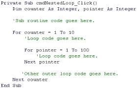 visual basic for loop parker s cis 220