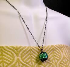 art glass necklace pendant images Studio waza firefly ball large drop of pendant green okinawa jpg