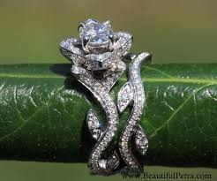 lotus flower engagement ring blooming work of 14k flower leaf lotus diamond