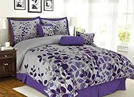 amazon com 7 piece purple lavender grey flocking comforter set