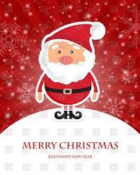 cute santa claus on hill christmas card with radial rays vector
