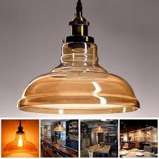 diy amber glass vintage pendant light fixture led ceiling lamp