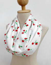 cherry scarf red and white scarf loop infinity circle scarf