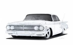 drawn car impala pencil and in color drawn car impala