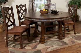 round table with lazy susan built in 5 pc cappuccino gathering dining set