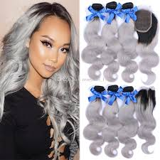 ombre hair weave african american cheap ombre hair extensions with closure ombre silver body wave