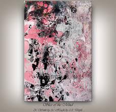 Home Design Ideas Nandita Mixed Media Art Painting Red Pink Black Wall Art Original