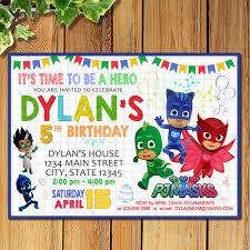 pj masks invitation pj masks birthday party superheroes theme