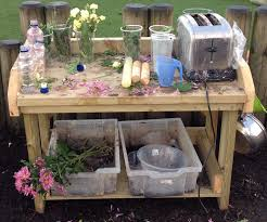 perfume potion making in the mud kitchen child care outdoors