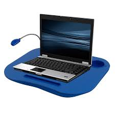 com laptop lap desk portable tray with foam cushion adjule led desk light and cup holder by laptop buddy blue computers accessories