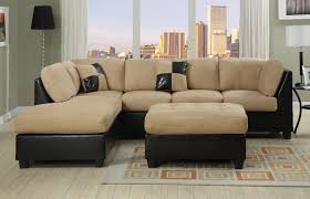 Brown Sectional Sofa With Chaise Furniture Comfortable Microfiber Sofa For Elegant Small Living