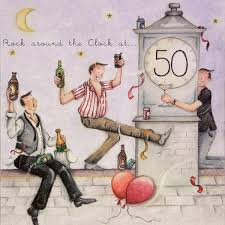 50 birthday card for a man rock around the clock at 50