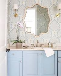 wallpaper bathroom designs pastel blue vanity with wallpaper casa de abd