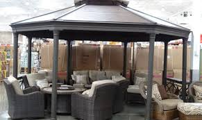 Lowes Arbor Kits by Patio U0026 Pergola Wood Gazebo With Aluminum Roof Costco