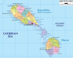 map of st detailed political map of kitts and nevis ezilon maps