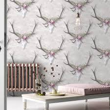 Magnolia Wallpaper by Stag Head Wallpaper U0027george U0027 By Woodchip And Magnolia By Woodchip