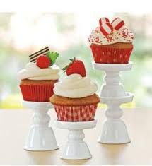Red Cake Plate Pedestal Amazon Com Porcelain Cupcake Mini Treat Pedestal Stands Set Of