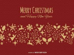 merry christmas red gold postcard vector download