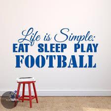 life is simple sleep play football soccer vinyl wall decal