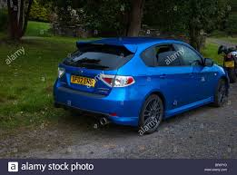 subaru impreza hatchback wrx 2002 model metallic blue subaru impreza wrxs hatchback stock photo