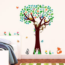 forest tree with monkey birds fox animals wall sticker decor for