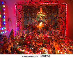 mexican christmas decorations and nativity scene with painted